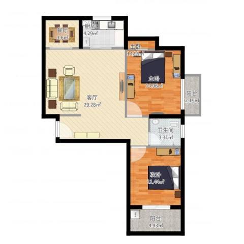 特房美地雅登1室2厅1卫1厨103.00㎡户型图