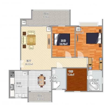 长河花园3室2厅2卫1厨131.00㎡户型图