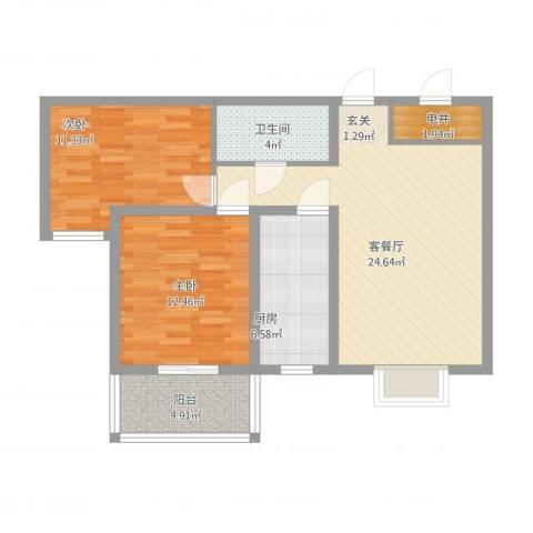 天阔逸城2室2厅1卫1厨95.00㎡户型图