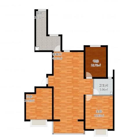 金泽苑3室2厅1卫1厨138.00㎡户型图
