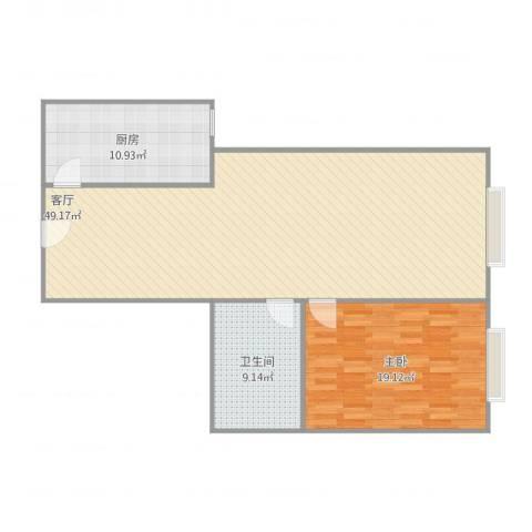 建外SOHO西区1室1厅1卫1厨116.00㎡户型图