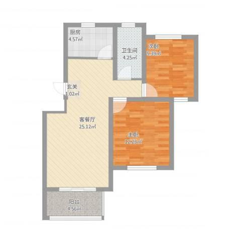 翠湖天地2室2厅1卫1厨86.00㎡户型图