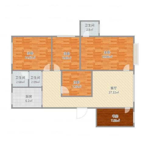 华鸿花园5室1厅3卫1厨134.00㎡户型图