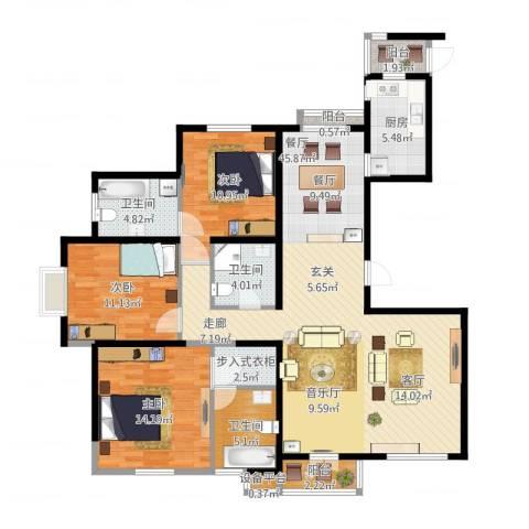 海逸长洲瀚波园3室1厅4卫1厨154.00㎡户型图