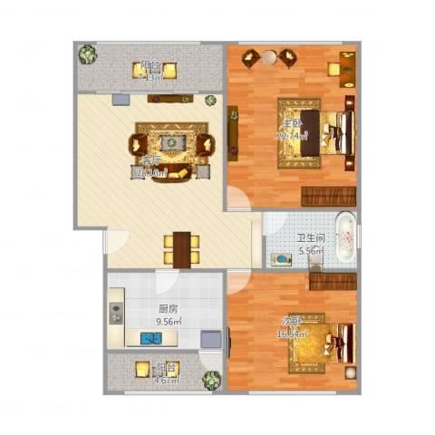 君莲小区A区2室1厅1卫1厨126.00㎡户型图