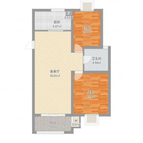 榕侨翡翠湾2室2厅1卫1厨98.00㎡户型图