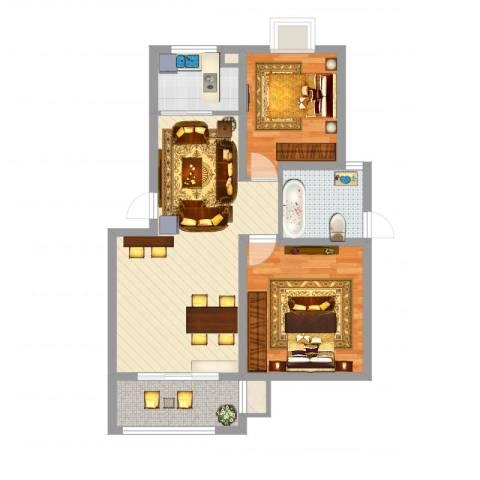 榕侨翡翠湾2室2厅1卫1厨78.00㎡户型图