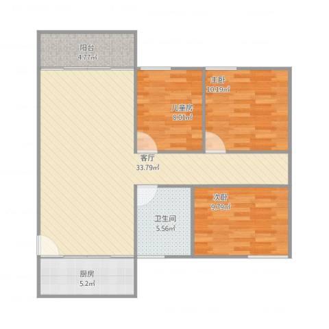 嘉俊雅苑3室1厅1卫1厨104.00㎡户型图