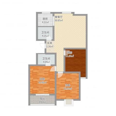 天华・领秀城3室2厅2卫1厨128.00㎡户型图