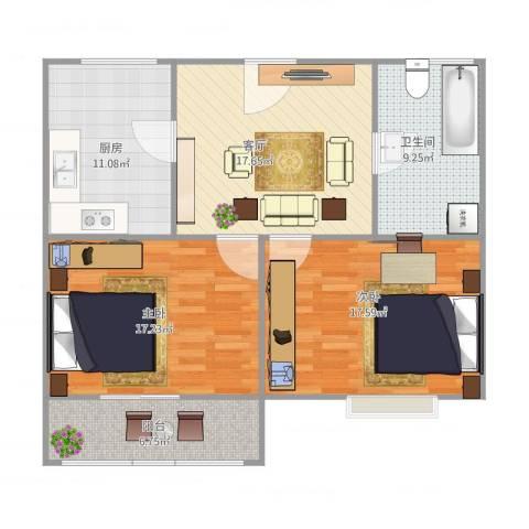 恒安小区2室1厅1卫1厨106.00㎡户型图