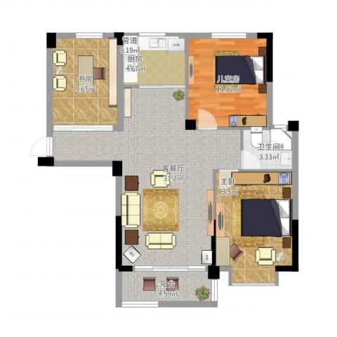 圆梦08庄园3室2厅2卫1厨112.00㎡户型图