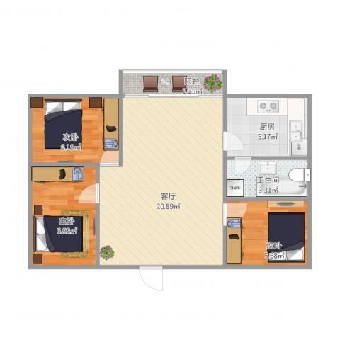 河畔花园33座7043室1厅1卫1厨69.00㎡户型图