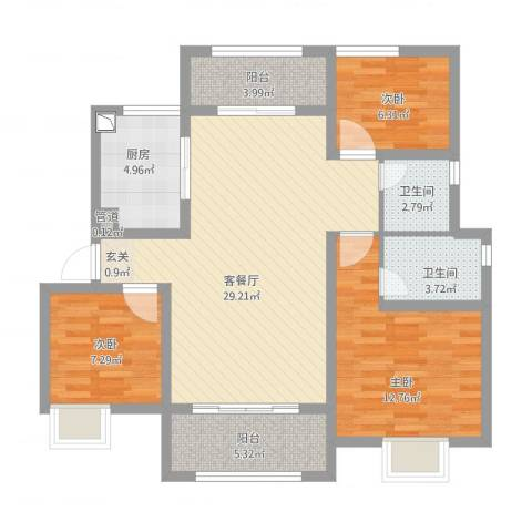 淮海青年城3室2厅2卫1厨112.00㎡户型图