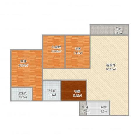 南湖半岛花园4室2厅2卫1厨194.00㎡户型图
