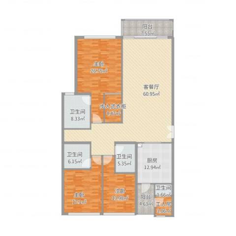 翠湖天地嘉苑3室2厅4卫1厨238.00㎡户型图