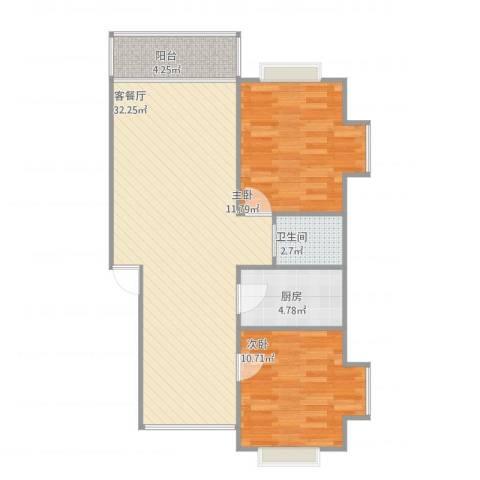 金色池塘2室2厅1卫1厨89.00㎡户型图