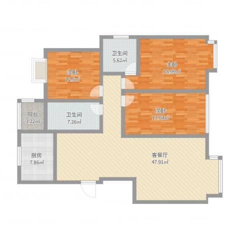 阳光家天下3室2厅2卫1厨171.00㎡户型图