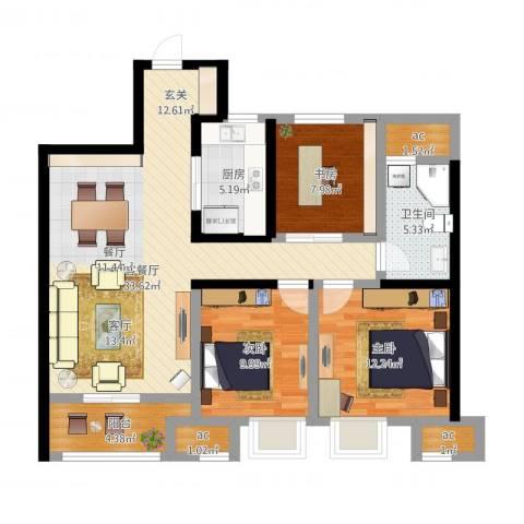 万科城3室2厅1卫1厨123.00㎡户型图