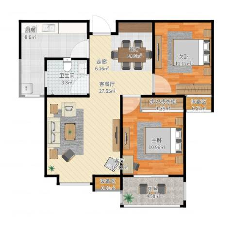 德州熙凤居2室2厅3卫1厨95.00㎡户型图