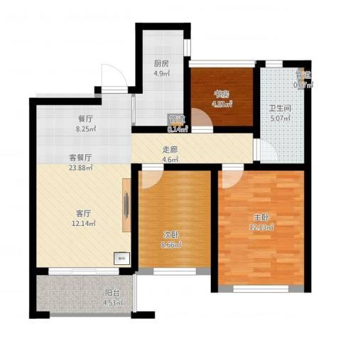 首创・悦都3室2厅2卫2厨94.00㎡户型图