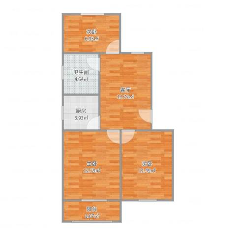 红明一村3室1厅1卫1厨75.00㎡户型图