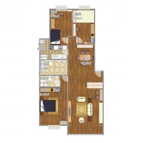 北京人家3室1厅2卫1厨145.00㎡户型图