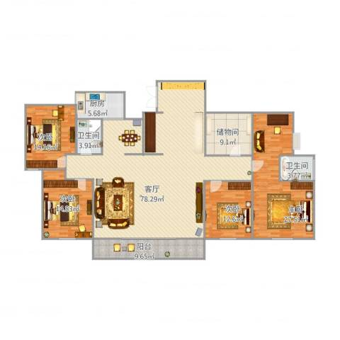 浉河一号1+1合体房4室1厅2卫1厨239.00㎡户型图