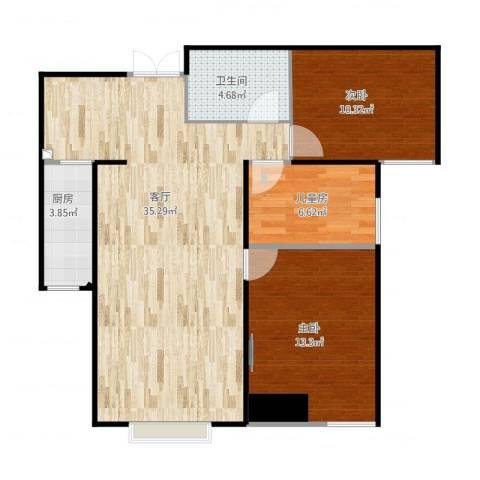 旺城温莎郡3室1厅1卫1厨100.00㎡户型图
