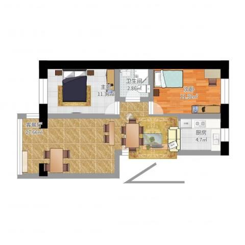 祥云小区2室2厅1卫1厨89.00㎡户型图