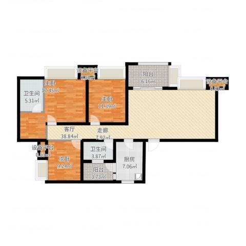 无国界3室1厅2卫1厨153.00㎡户型图