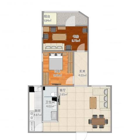 牛街东里2室1厅1卫1厨74.00㎡户型图