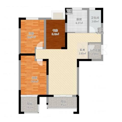 冠城华府2室2厅1卫1厨121.00㎡户型图