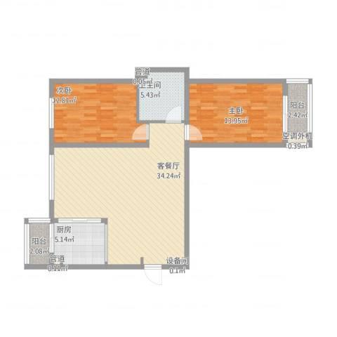 凯顺佳园2室2厅1卫1厨109.00㎡户型图