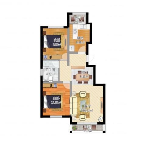孔雀海2室1厅1卫1厨92.00㎡户型图