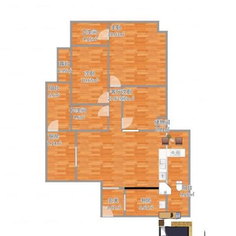九洲花园4室1厅2卫1厨146.00㎡户型图