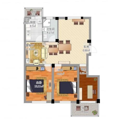 繁裕新村3室2厅1卫1厨105.00㎡户型图