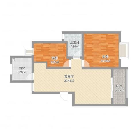 长江绿岛2室2厅1卫1厨78.21㎡户型图