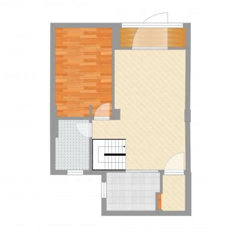 新宏・香榭丽舍1室1厅2卫1厨61.00㎡户型图