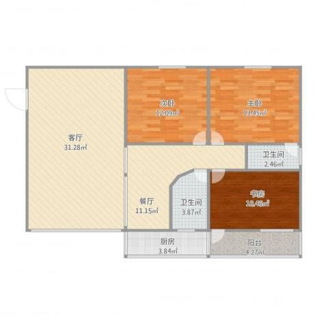 华景苑3室2厅2卫1厨125.00㎡户型图