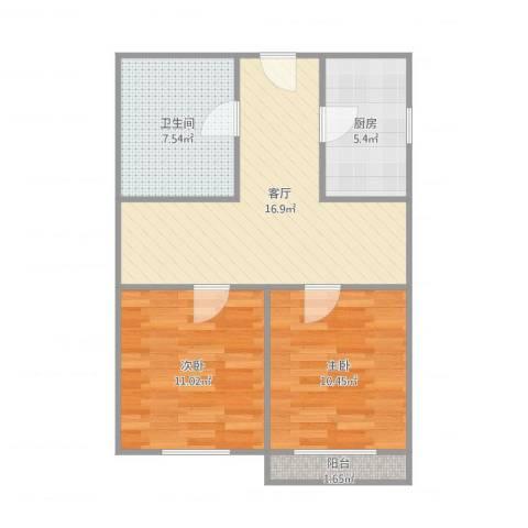 解放新村2室1厅1卫1厨72.00㎡户型图