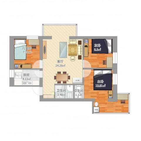 安苑北里3室1厅2卫1厨90.00㎡户型图