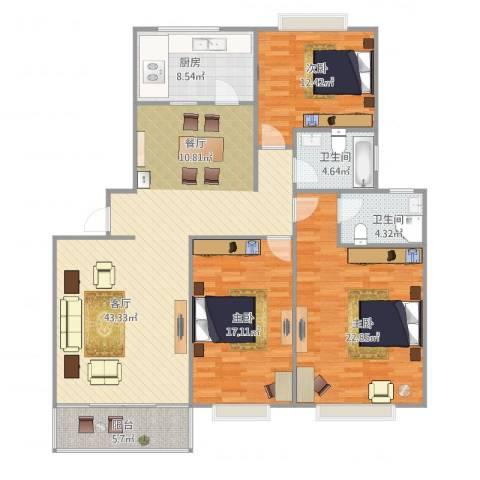 万邦都市花园3室1厅2卫1厨159.00㎡户型图