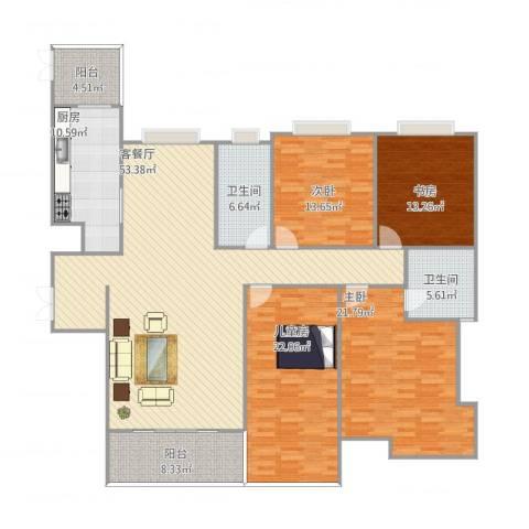 西市佳境4室2厅2卫1厨213.00㎡户型图
