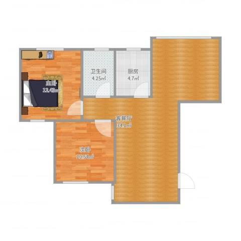 光信国信嘉园2室2厅1卫1厨88.00㎡户型图