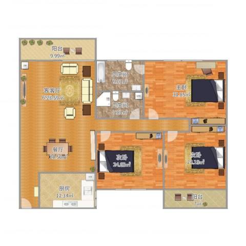 新景园二期3室1厅2卫1厨254.00㎡户型图