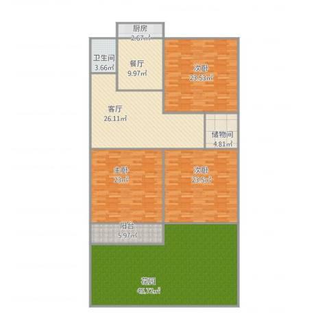 建设路单位宿舍3室2厅1卫1厨224.00㎡户型图