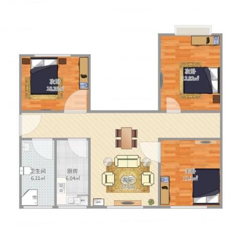 金纬新苑3室1厅1卫1厨100.00㎡户型图
