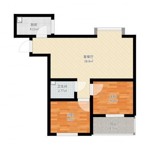 恒天第五座2室2厅1卫1厨85.00㎡户型图