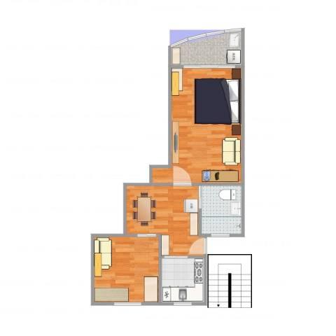 通河八村2室1厅1卫1厨53.00㎡户型图