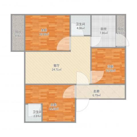 唐园一街1号7033室1厅2卫1厨131.00㎡户型图